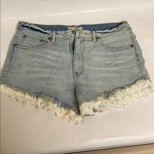 Free People cutoff shorts with lace